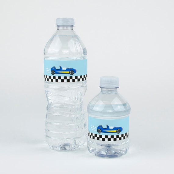 Printed Water Bottle Labels Race Car Etsy