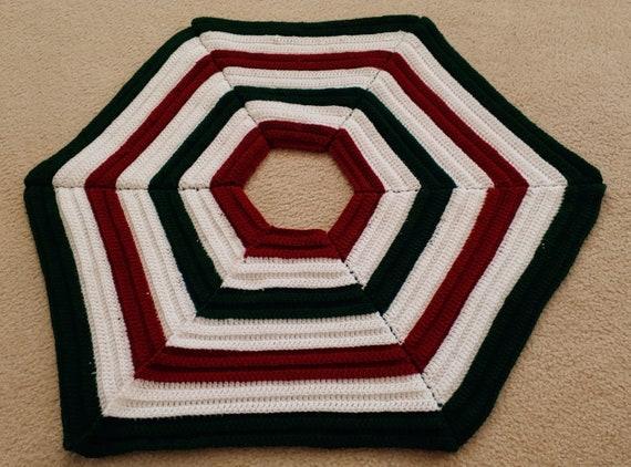 Crochet PATTERN: Christmas-Sweater Striped Hexagon Tree Skirt