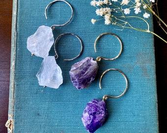 Amethyst ear hangers,quartz ear weights,pendulum ear weights,guage earring