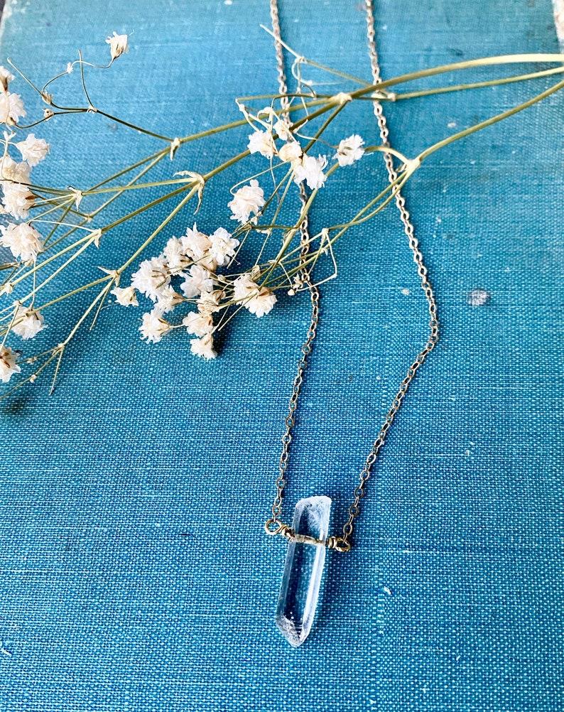 Healing Boho Gemstone Necklace Minimalist Quartz Crystal Pendant Necklace Customizable Reiki Necklace Terminated Quartz Crystal Jewelry