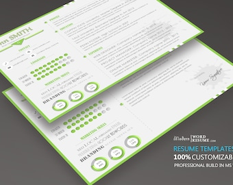Single page clean resume template with cover letter and etsy modern horizontally resume template cv template cover letter in ms word reheart Choice Image