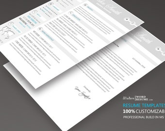 your 2018 resume template update resume cv template 1 page etsy