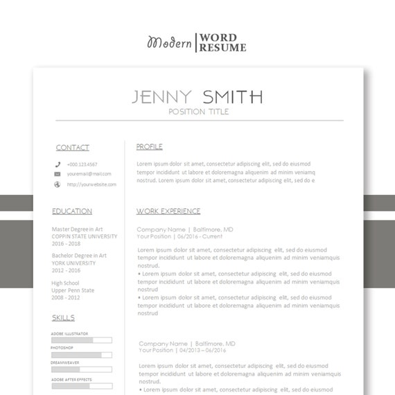 Resume One Page Template Reference Page Cover Letter All Etsy