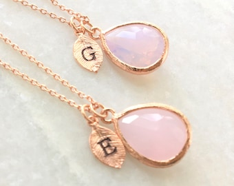Crystal Pink Necklace  Initial Bridesmaids Necklace  October Birthstone  Pink Bridesmaids Gift  Personalized Necklace  Blush Necklace