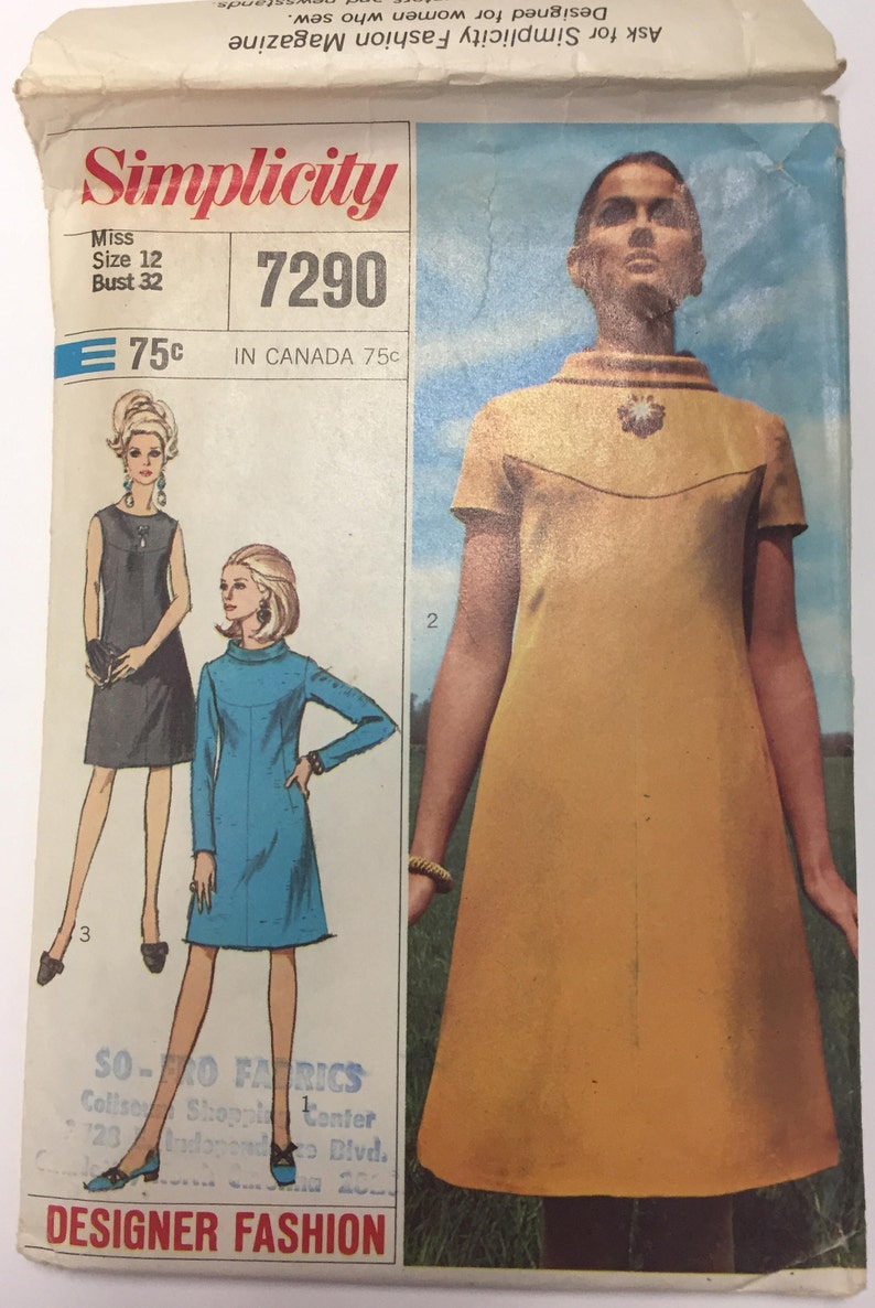 Vintage Simplicity 7290 1960s First Lady Mod Mad Men Style A Etsy