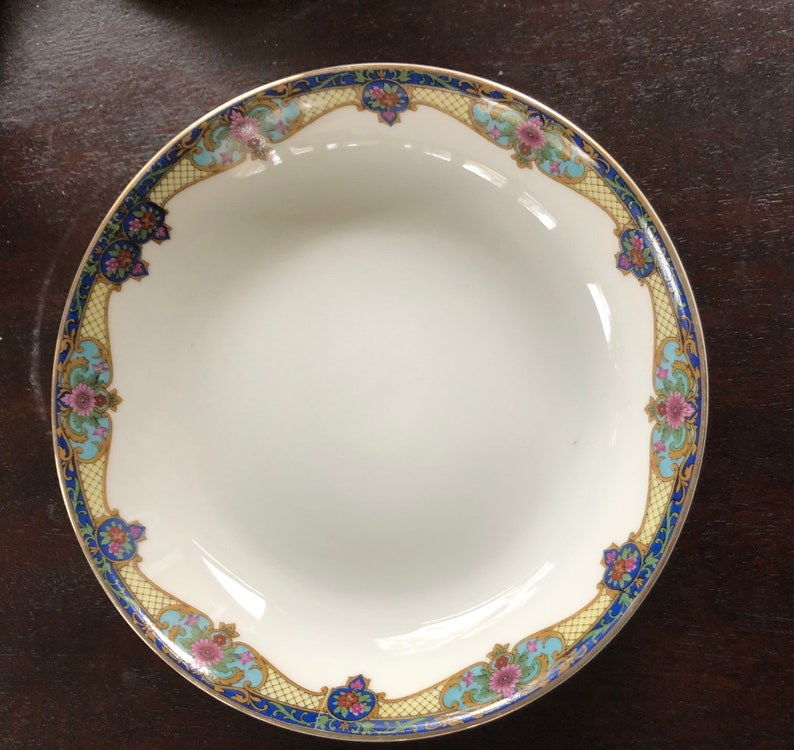Vintage Czechoslovakia China in Deep Jewel Tones Bowls with a primary color of Blue