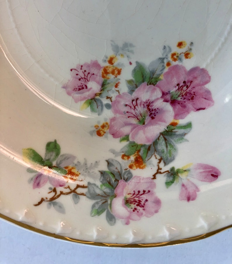 Crooksville China from Ohio Soup Coupe Bowls Azalea blossoms and gold trim