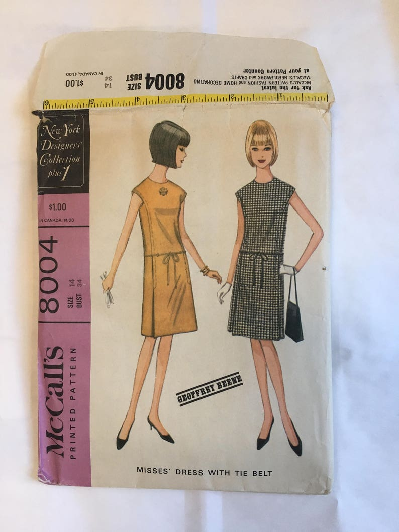 1960's McCall's 8004 Pattern Misses' Dress with Tie Belt Complete Pattern  and Instructions