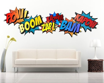 SUPERHERO COMIC WORDS Retro Kapow Boom Zap Bam Colour Wall Art Sticker Kit decals