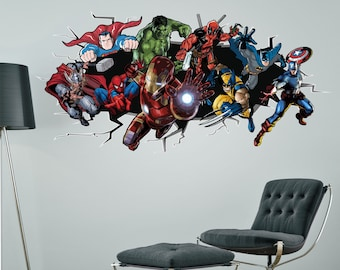 SUPERHEROES Breaking Smashing Through Wall Sticker Boys Bedroom Decal  Spiderman Hulk Batman Captain America Deadpool Ironman