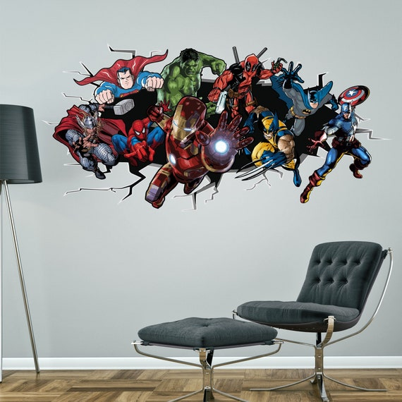 SPIDERMAN Decal 3D Smashed Wall Sticker Decor Art Mural Super Hero Marvel WC165