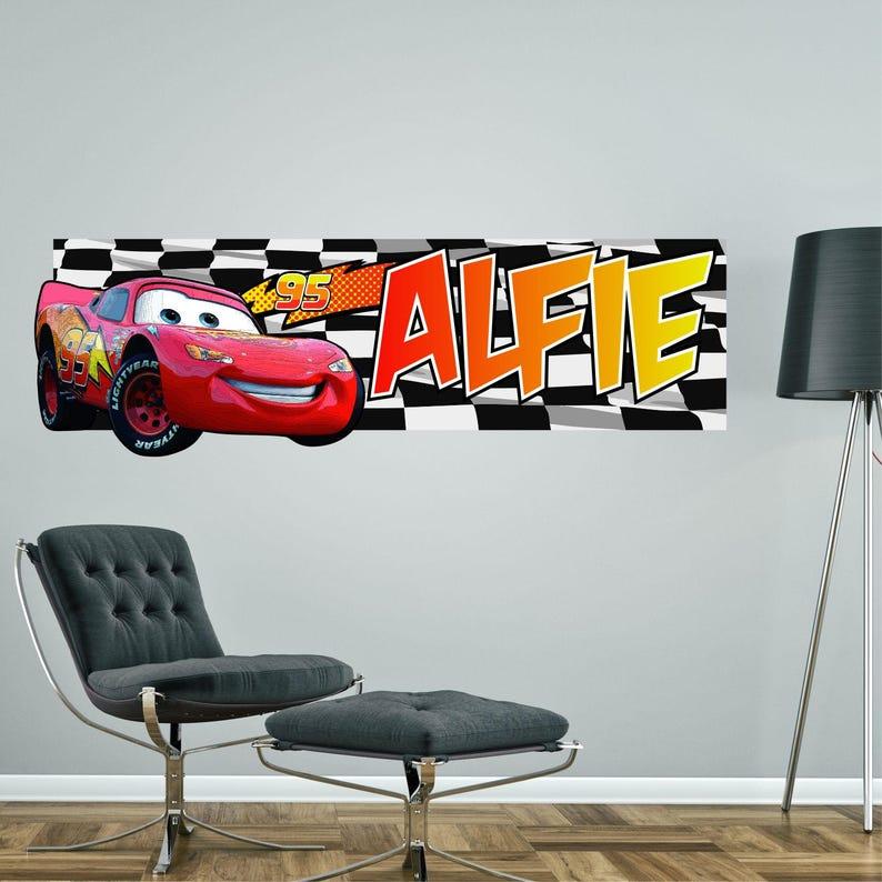 lightning mcqueen cars personalised wall sticker | etsy