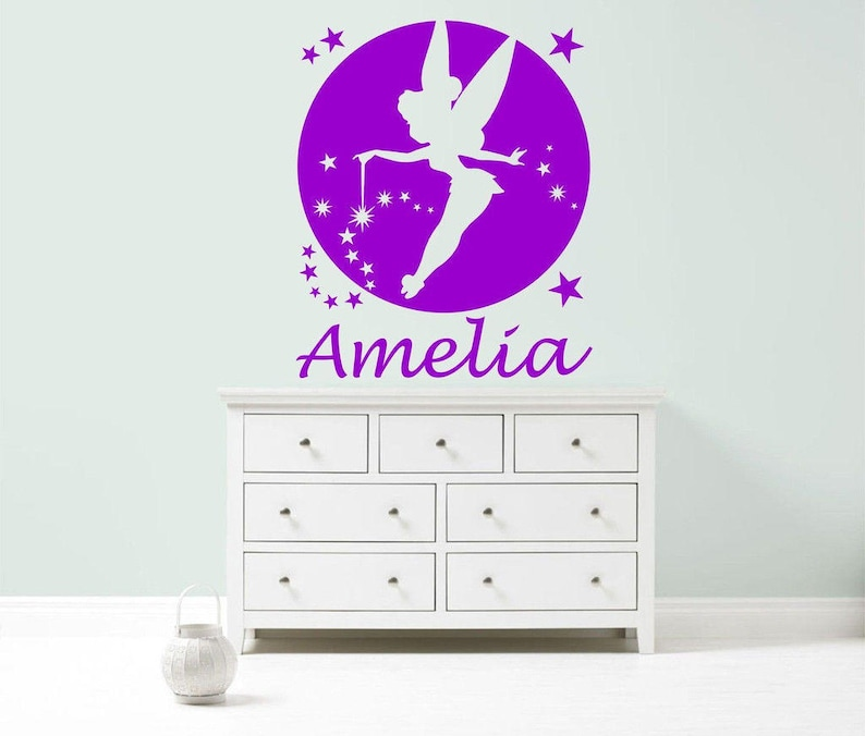 TINKERBELL FAIRY PRINCESS Personalised Wall Sticker children/'s nursery girl/'s bedroom decal art graphic mural