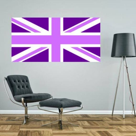UNION JACK Purple Lilac Pastel British Flag Wall Sticker Decal UK Great Britain Graphic Art Mural Girly Pretty