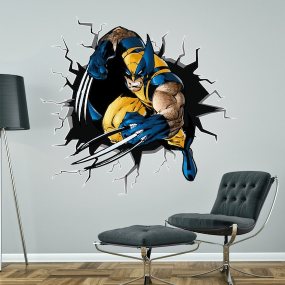 WOLVERINE PERSONALISED WALL STICKER superhero children/'s boys bedroom decal