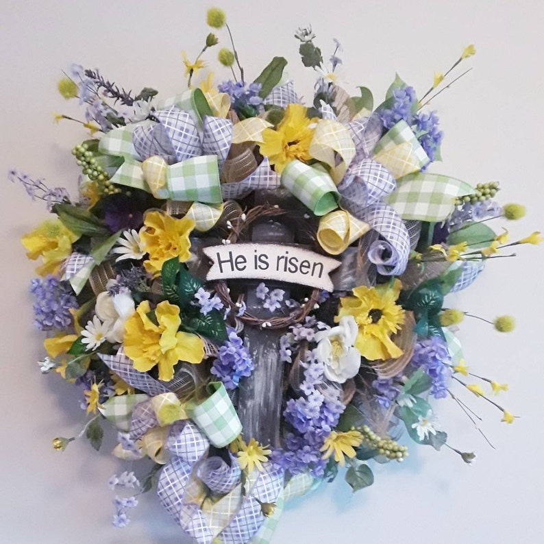Large Religious Wreath He Is Risen Wreath Religious Easter Etsy