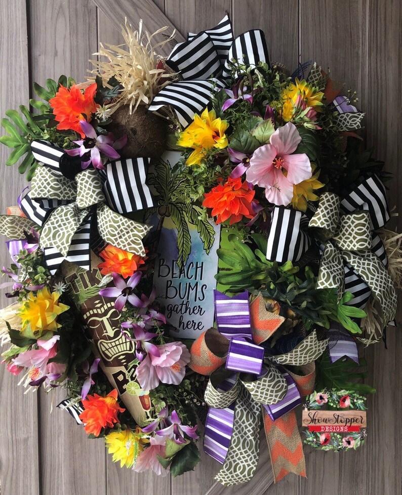 Pool Party Wreathxl Tropical Wreathtropical Door Etsy