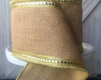 10 yards, 4 Inch Wired Ribbon, Burlap Wired Ribbon, Yellow Wire Ribbon, Jeweled Ribbon, Burlap Wired Ribbon, Yellow Ribbon, Gold Ribbon