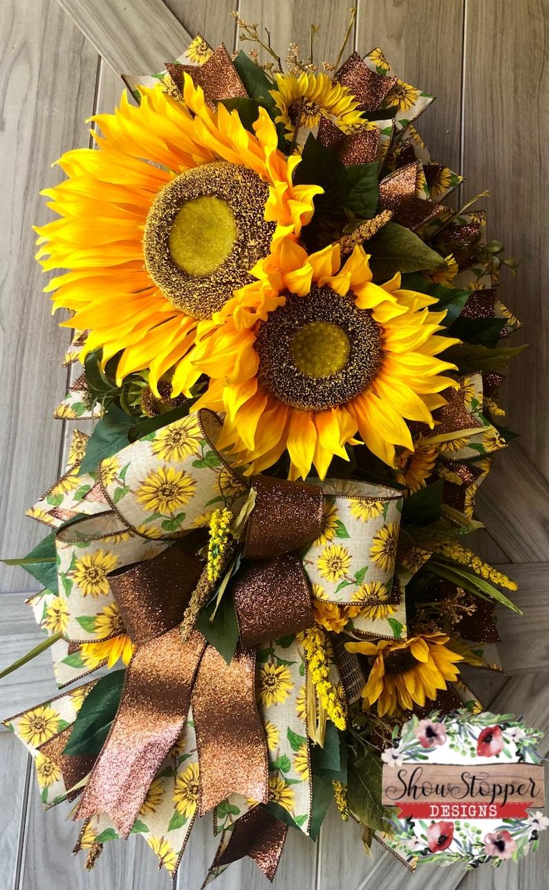 Sunflower Wreath Sunflower Swag Anytime Wreath Fall Door image 0