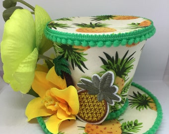 Tropical Pineapple mini top hat fascinator 43c6ac7e367