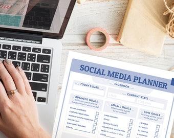 Social Media Planner | Marketing Planner | Monthly Planner, blog planner, business planner, social media, social media tracker, goal tracker