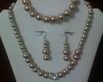 Silver and light brown jewelry set