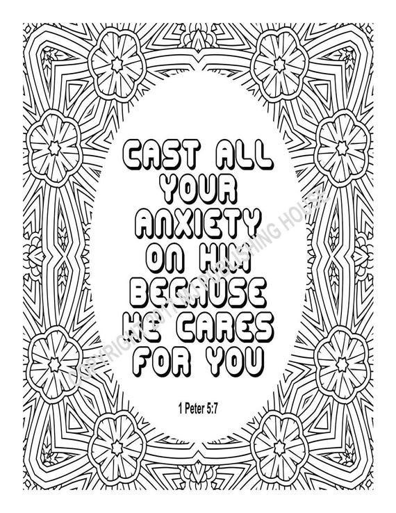 Bible Verse Coloring Page Cast All Your Anxiety On Him Etsy