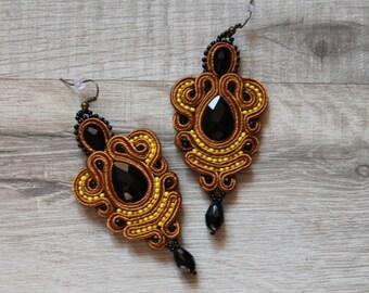 Dangle earring,soutache earring,Chandelier Earrings,long brown earring,jewerly handmade earrings.ss2018