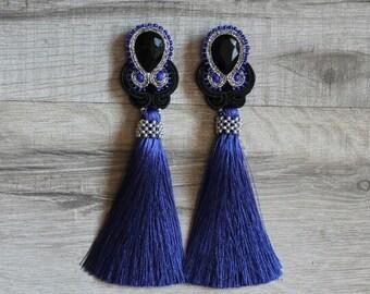 Jewelry soutache,e,blue earrings,long earrings,handmade,dangle earrings