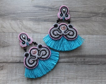 Gray and pink soutache earrings, flamenco earrings,soutache earrings with fringe,unique soutache embroidery