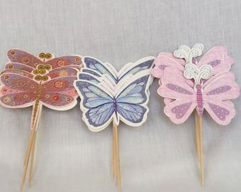Cupcake toppers, butterfly toppers, baby girl toppers, fairy party toppers, birthday toppers, dragonfly toppers
