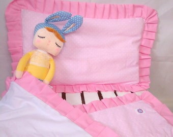 100% pure cotton, Baby Bedding , Hand Made Baby cot, Set for cot with a  flounce, frill