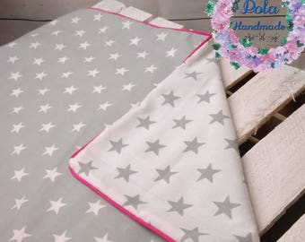 100% pure cotton, Baby Bedding , Hand Made Baby cot, Set for cot, For Girl white gray stars and pink line