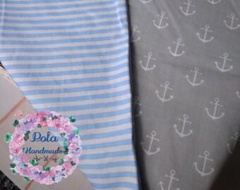 100% pure cotton, Baby Bedding , Hand Made Baby cot, Set for cot, For Boy white gray anchors  stripes