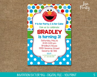 Elmo Invitation Print Yourself Birthday Sesame Street