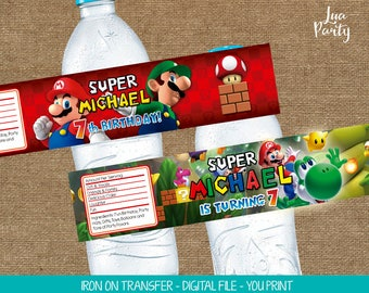 Party labels notebook labels Book presentation labels 20 Super Mario Bros waterproof personalized labels