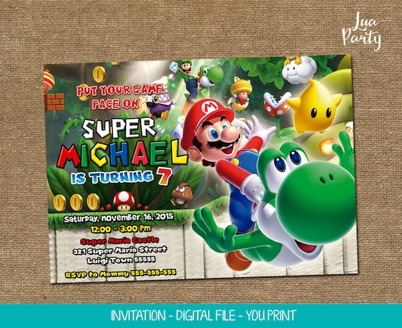 Super Mario Invitation Print Yourself Super Mario Birthday Etsy