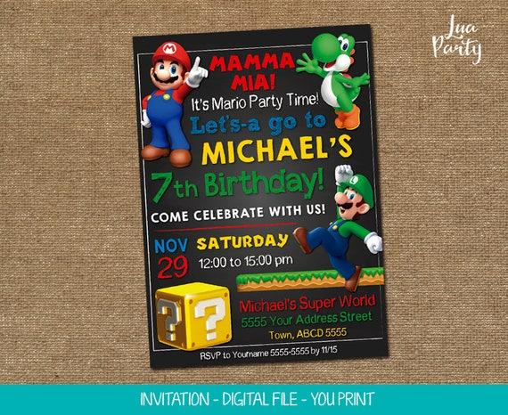 Super Mario Einladung drucken selbst, Super Mario-Geburtstags-Einladung,  Super Mario-Party-Einladung