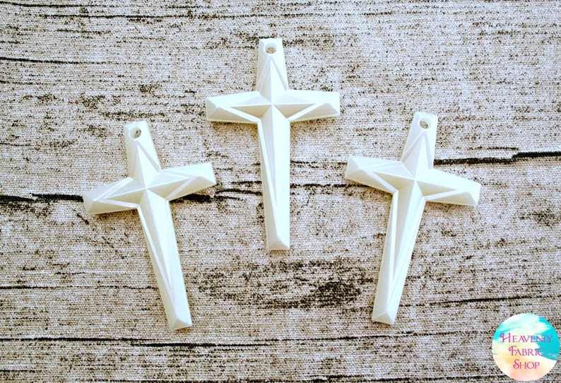 Large Pearlized Acrylic Cross Pendant Beads for Jewelry image 0