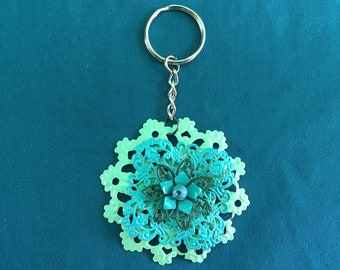 Blue Flower Keychain, Flower Key Charm, Flower Purse Charm, Simple Keychain, Metal Flower Keychain, Metal Keychain