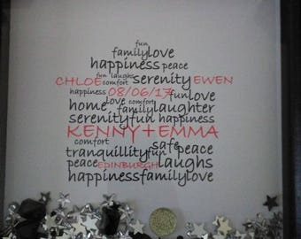 New Home - House word art box-frame gift