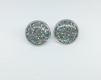 Stainless Steel Stud Earrings Silver Resin Bridesmaid Gifts For Her Holographic Glitter Bridal Jewelry Best Friend Gift Birthday Gift