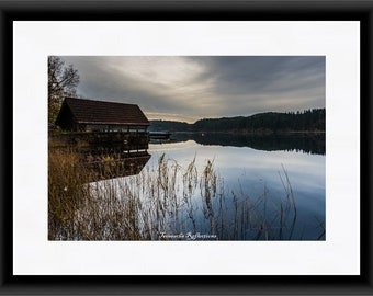 Loch Ard Boathouse Trossachs Mounted Print Canvas Framed Wall Art Decor  Gifts Scotland