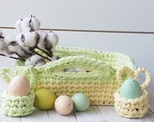Easter farmhouse rustic basket for Easter decorations with Easter eggs holders. Easter pastel tray, Easter centerpiece for table decor.