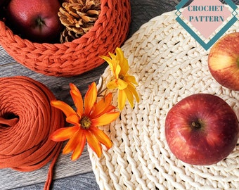 Easy Crochet Basket Pattern, Beginner Crochet Placemat Pattern for Fall decor, Tshirt Yarn Crochet Pattern, Crochet Thanksgiving Centerpiece