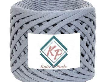 Tshirt Yarn, Fabric Yarn, Spaghetti Yarn, T-shirt Yarn, Recycled Yarn, Ribbon Yarn, Basket Yarn, Textile Yarn, Yarn for Bags, Grey