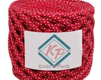 T-shirt yarn, cotton chunky yarn for crochet bags, rugs and baskets. Textile fabric, recycled t-shirt yarn. Red strawberry tshirt yarn.