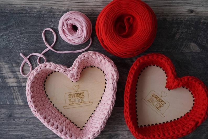 Diy Crochet Basket Kit For Valentines Gifts Crochet Storage Etsy