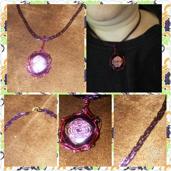 dichroic glass pink spiral and purple wire knitted necklace