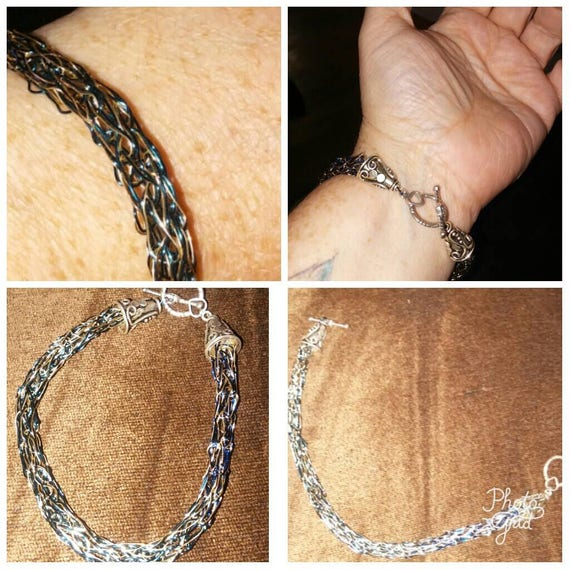 Blue Gold and Silver wire knitted bracelet
